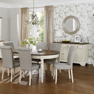 Bentley Designs Hampstead Soft Grey & Walnut Dining
