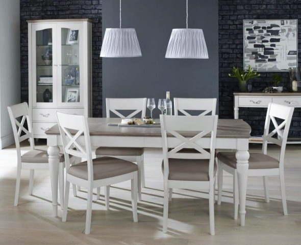 Bentley Designs Montreux Grey Washed Oak u0026 Soft Grey 6-8 Ext. Table u0026 6 X Back Chairs & Bentley Designs Montreux Grey Washed Oak u0026 Soft Grey 6-8 Ext. Table ...