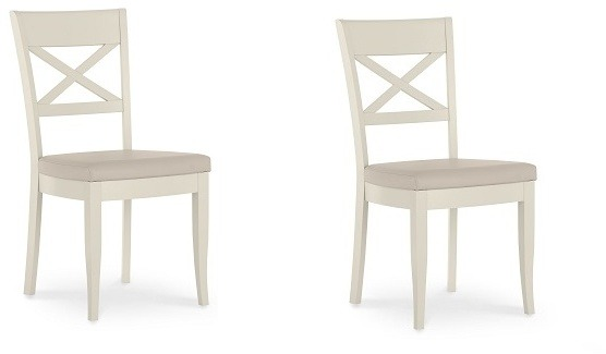 Bentley Designs Montreux Antique White X Back Chair   Ivory Bonded Leather  (Pair)
