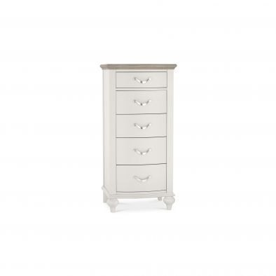 Bentley Designs Montreux 5 Drawer Tall Chest - Grey Washed Oak & Soft Grey