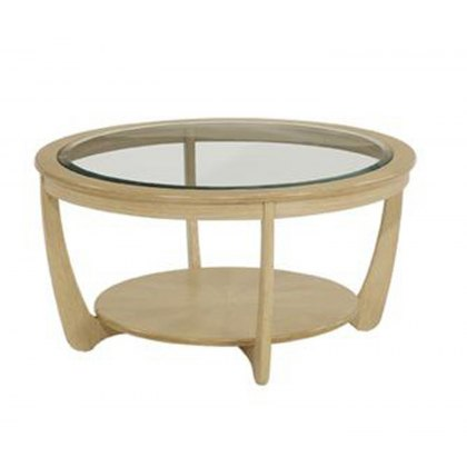 Nathan 5915 Shades Oak Glass Top Round Coffee Table