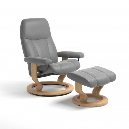 Stressless Consul Chair & Stool Classic Base - 3 Colours & 3 Sizes - Quick Ship!