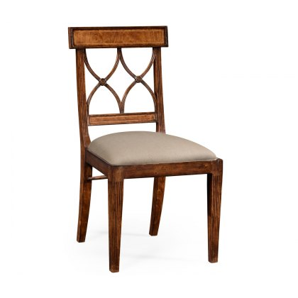 Jonathan Charles Regency Crotch Walnut Curved Back Side Chair