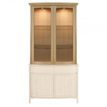 Nathan 4045 Shades Oak Shaped 2 Glass Door Display Top Unit