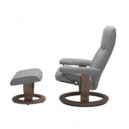 Stressless Consul Medium Chair and Stool with Classic Base