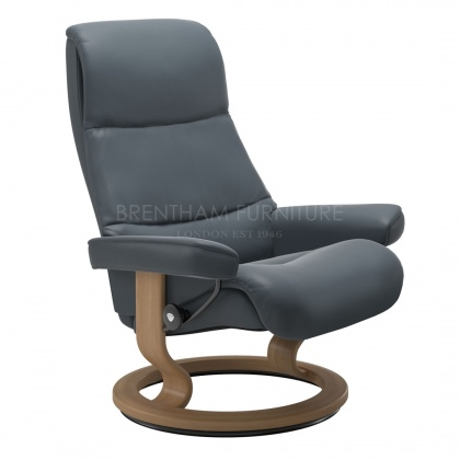 Stressless View Small Recliner Chair With Classic Base (No stool)