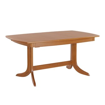 Nathan 2174 Shades Teak Extending Boat Shaped Pedestal Dining Table
