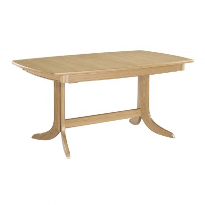 Nathan 2175 Shades Oak Extending Boat Shaped Pedestal Dining Table