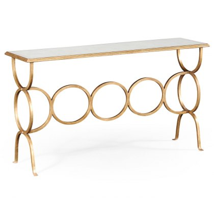Jonathan Charles Eglomise & Gilded Iron Circles Console - In Stock Express Delivery