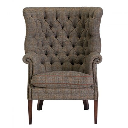 Tetrad Harris Tweed MacKenzie Chair Option G - Self piping in fabric with leather arms and buttons
