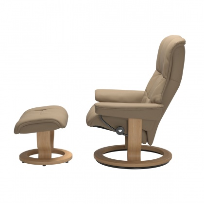 Stressless Mayfair Medium Chair and Stool with Classic Base
