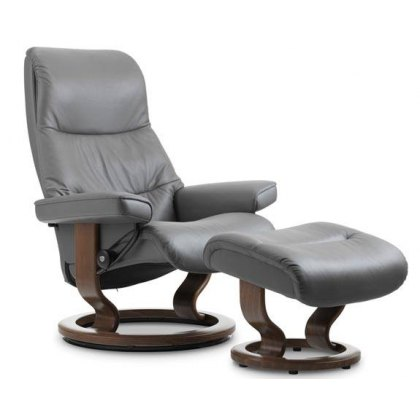 Stressless View Medium Recliner & Stool With Classic Base