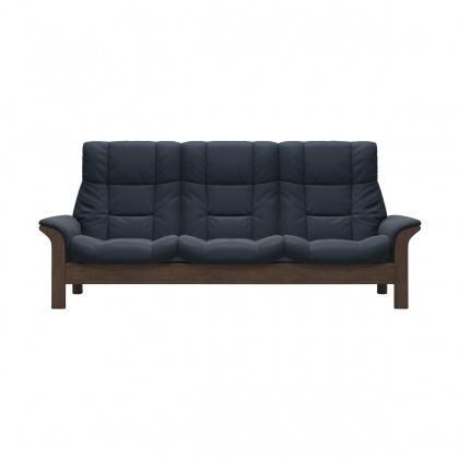 Stressless Buckingham High Back 3 seater Sofa - Batick Atlantic Blue & Walnut Wood
