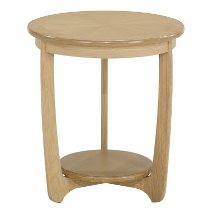 Nathan 5825 Shades Oak Sunburst top Round Lamp Table