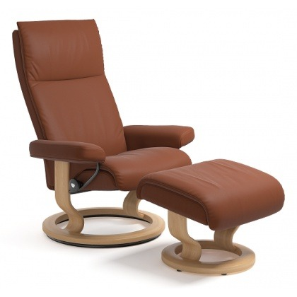 Stressless Aura Medium Chair And Stool With Classic Base