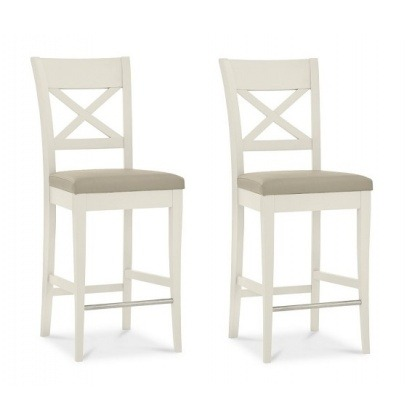 Bentley Designs Montreux Pale Oak & Antique White X Back Bar Stool (Pair) Bonded Leather