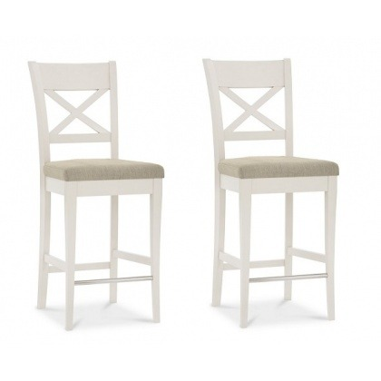 Bentley Designs Montreux Pale Oak & Antique White X Back Bar Stool (Pair)