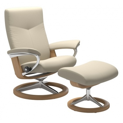 Stressless Dover Large Chair & Stool - Signature Base