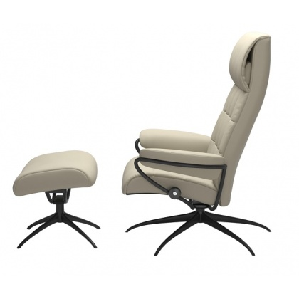 Stressless London High Back - High Base - Chair & Stool With Star Base