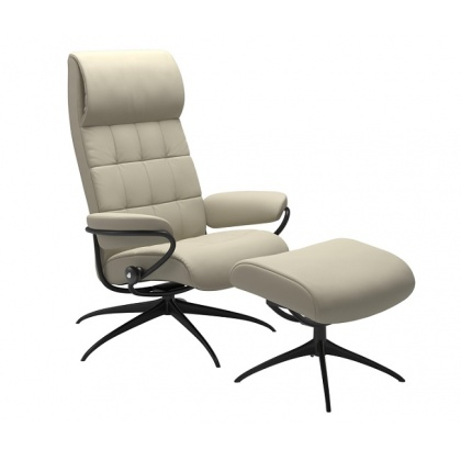 Stressless London High Back - Standard Base - Chair & Stool With Star Base