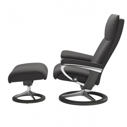 Stressless Aura Medium Chair and Stool with Signature Base - Paloma Rock - Quick Ship!