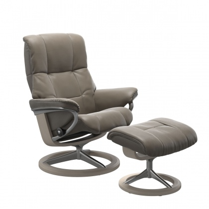 Stressless Mayfair Medium Chair and Stool with Signature Base  - Choose From 3 Leather Colours For Q