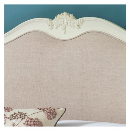 Frank Hudson Chic 5' Upholstered Kingsize Bed Vanilla White