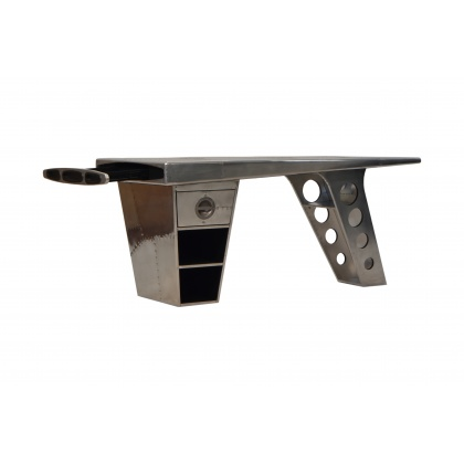 Aviator Half Wing Desk - Jet Silver
