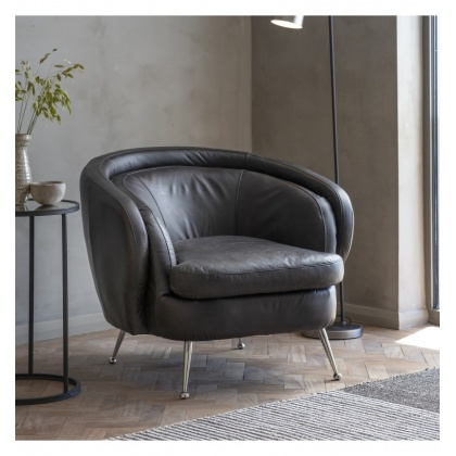Gallery Tesoro Tub Chair Black Leather