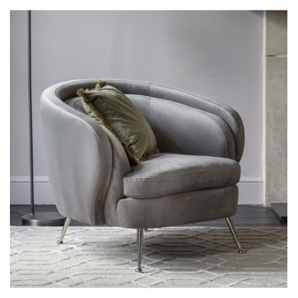 Gallery Tesoro Tub Chair Grey Velvet