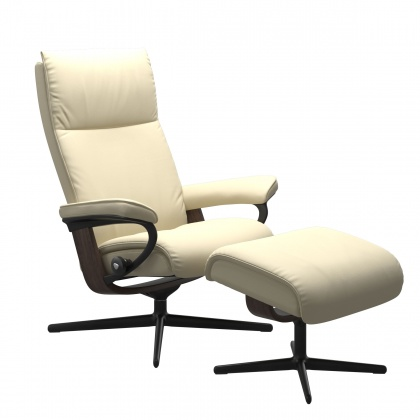 Stressless Aura Medium Chair And Stool With Cross Base