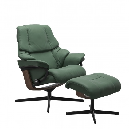 Stressless Reno Medium Chair and Stool with Cross Base