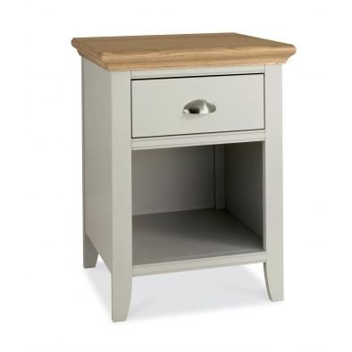 Bentley Designs Hampstead Soft Grey & Pale Oak 1 Drawer Nightstand