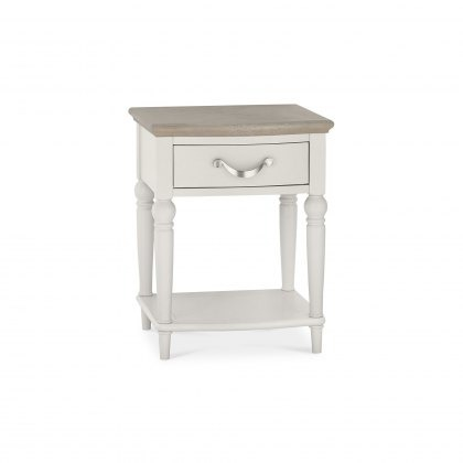Bentley Designs Montreux 1 Drawer Nightstand - Grey Washed Oak & Soft Grey