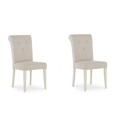 Bentley Designs Montreux Antique White Upholstered Chair - Sand Fabric - (Pair)