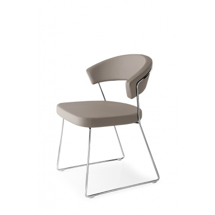 Connubia Calligaris New York Sleigh Leg Chair Leather : Chrome Frame (PAIR)