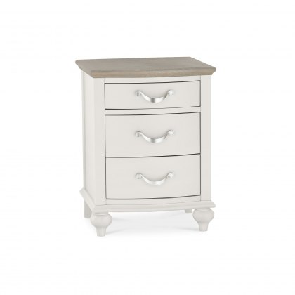 Bentley Designs Montreux  3 Drawer Nightstand - Grey Washed Oak & Soft Grey