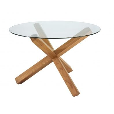 Bentley Designs Lyon Oak Glass Top Round Dining Table