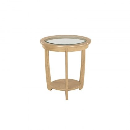 Nathan 5815 Shades Oak Glass Top Round Lamp Table