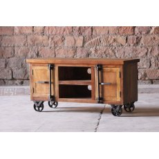 Little Tree Furniture Hyatt Industrial TV Unit On Wheels
