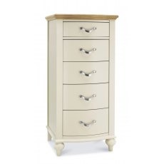 Bentley Designs Montreux Pale Oak & Antique White 5 Drawer Tall Chest