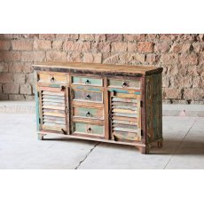 Little Tree Furniture Mary Rose Reclaimed 6 Drawer 2 Slatted Door Sideboard