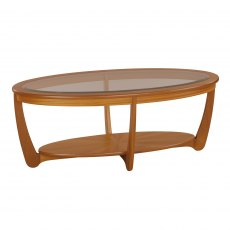 Nathan 5834 Shades Teak Glass Top Oval Coffee Table