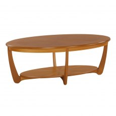 Nathan 5844 Shades Teak Sunburst Oval Coffee Table