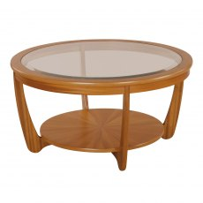 Nathan 5914 Shades Teak Glass Top Round Coffee Table