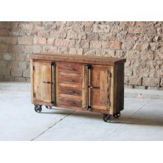 Little Tree Furniture Hyatt Canning Industrial Sideboard On Wheels
