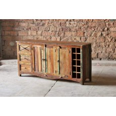 Little Tree Furniture Riya Reclaimed 3 Drawer 3 Door Sideboard and Wine Rack