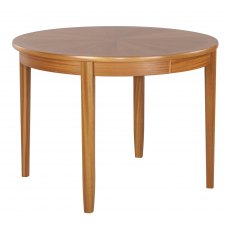 Nathan 2904 Teak Circular Dining Table on Legs with Sunburst top