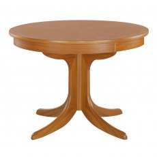 Nathan 2164 Classic Teak Circular Pedestal Dining Table with Sunburst Top