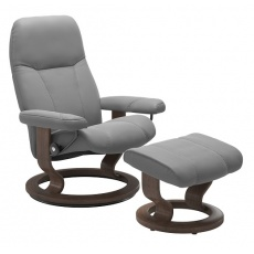 Stressless Consul Large Chair and Stool with Classic Base